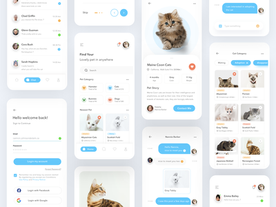 Pet Sharing App pets pet zoo conservation animal donate adoption adopt dog cat cards simple profile design mobile card ios ui clean app