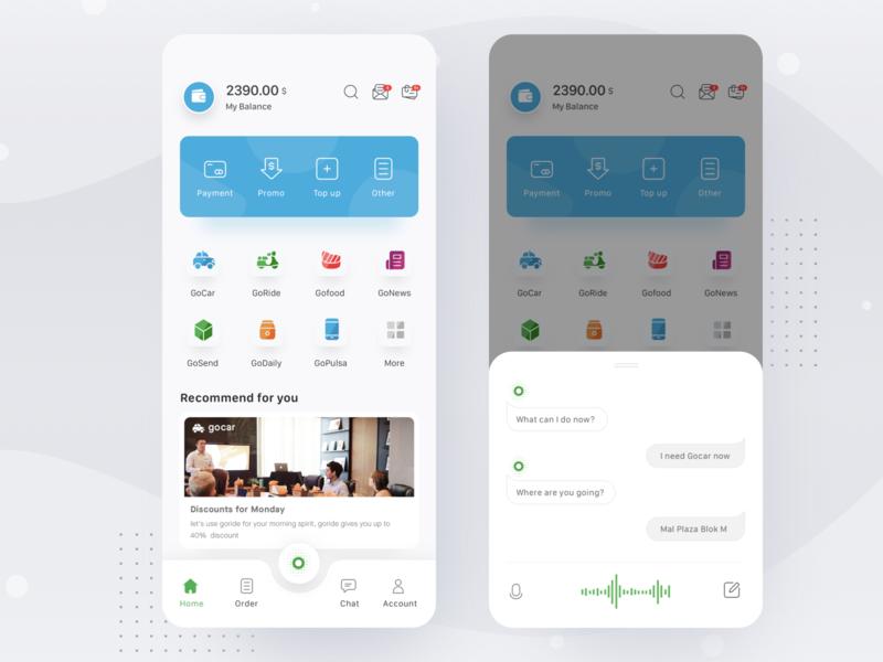 Gojek App Re-design uber grab car food payment gojek cards simple profile design mobile ios card ui clean app