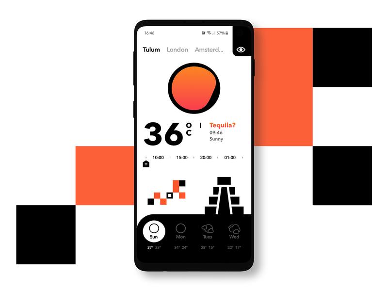 Weather app tulum mexico sun weather app mobile interface inspiration uidesign ux ui