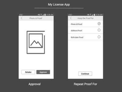 My License App - Photo Id Proof screens