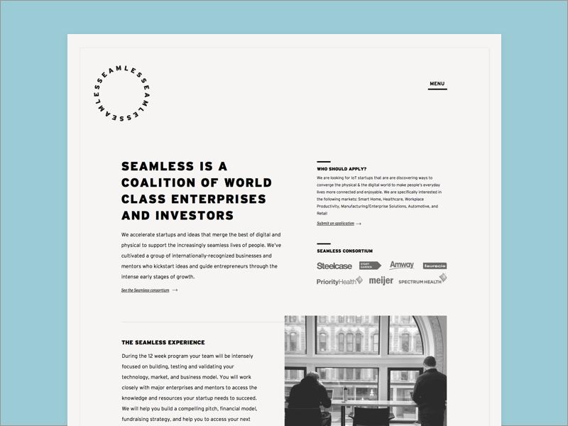 Seamless Accelerator Homepage grid website minimal off white