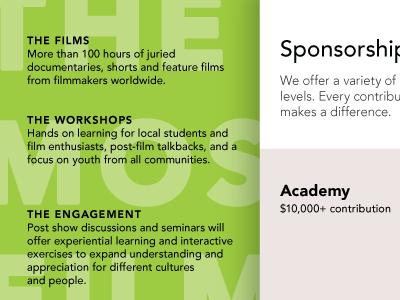 Mosaic Film: Sponsorship (back) mosaic film festival print