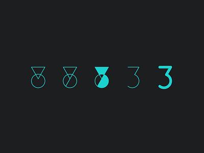 Three process graphic design design three numeric typography