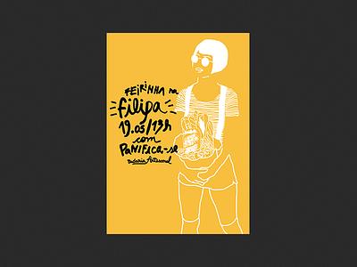 Filipa pan y cafe food bakery bread filipa illustration poster