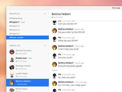 Desktop chat app slack desktop communication clean conceptual prototype app chat