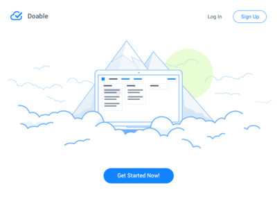 Doable - Landing page released animation rails clean blue tasks tool small lines clouds cloud landing