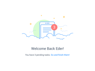 Doable - Welcome Back screen doable cloud notification animation pending to do list clouds lines illustration back welcome