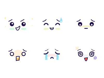 Emoji reactions for app ko sad scared worried happy icons minimal cute simple stickers emotions emoji