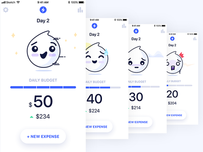 iOS app - Daily Budget Main Screen mobile illustration diary cards emojis moods budget clean simple app ios