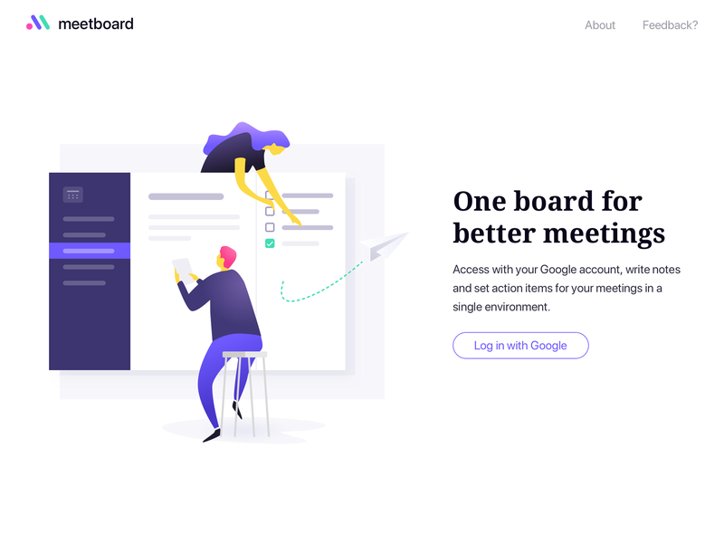 Meetboard Landing meetings board illustration landing app