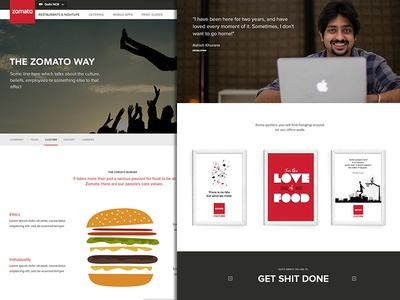 Zomato Culture Page - WIP flat clean large image culture team page zomato