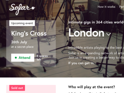 Sofar Sounds / London events — part #1 events ui transaction sofar