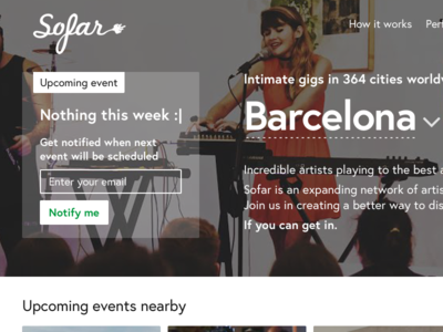 Sofar Sounds / Barcelona events — part #1 ui transaction sofar events