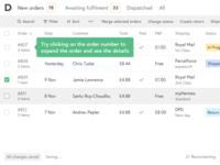 Orders management / List + Tooltip
