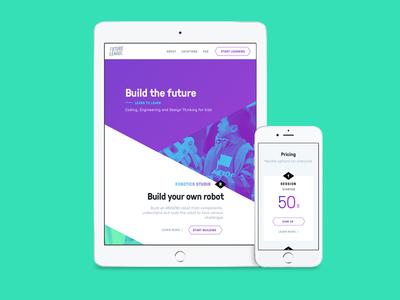Future League homepage sketch web design product design ux ui