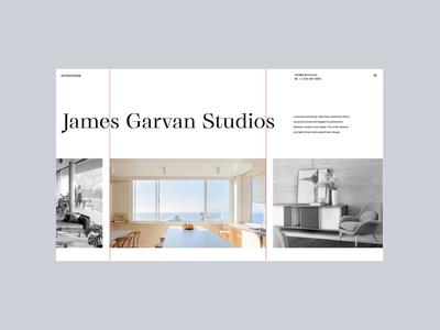 Interiorzine — 1 of 3 typography horizontal scroll website furniture modern interaction architecture interior design motion ux ui minimal web design interface