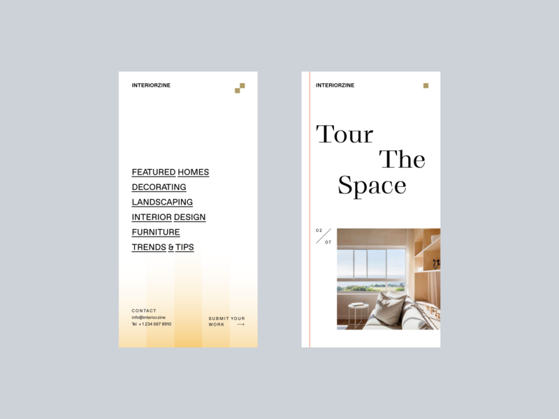 Interiorzine — 3 of 3 gradient menu home house contemporary website web design mobile interface ui typography photography modern minimal interior design interaction static home decor furniture architecture