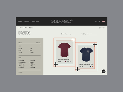Pepper® — 1 of 3 clothing brand store product shop fashion plp filter clothes ecommerce ux ui website streetwear typography modern web design minimal interface