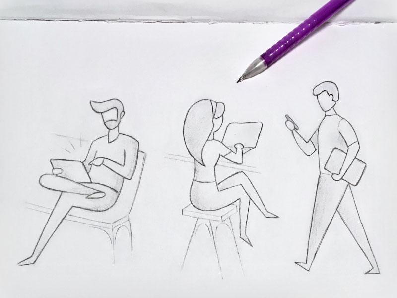 Memento — 1 / 4 minimal people pencil line art person sitting reading walking sketch memento digital phone tablet ipad computer people illustration mobile sketches journal diary