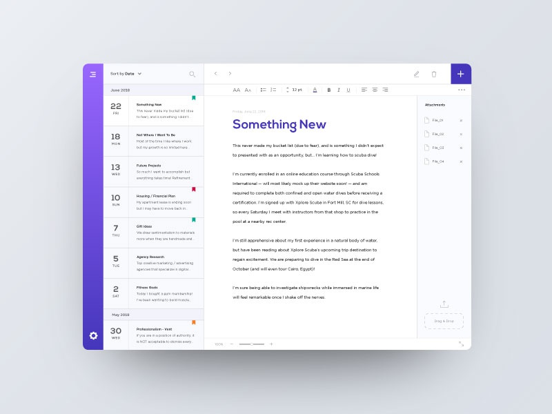 Memento — 2 / 4 reading app writing notes app journal app diary app purple webdesign memento private notes digital content document write dashboard journal diary