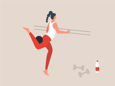 Break A Sweat self care strong dumbbells healthy diet balance woman stretching active people girl illustrator cardio barre yoga dance pilates exercise fitness workout