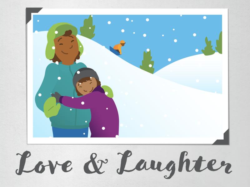 Love & Laughter illustration video winter hill sledding snow love