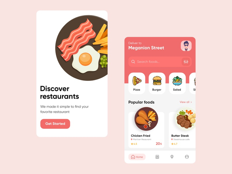 Food App Design food app design app design concept food illustration illustration icons e-commerce shopping app shopping ux ui app discover restaurant app food delivery food app food
