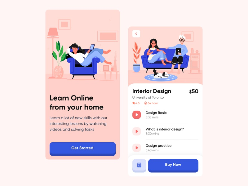 Online learning app ux design ui design app design design dribbble app product design pink e-learning video illustration learning learning app ux ui