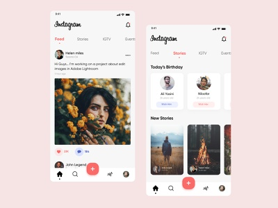 Instagram Redesign Concept adobe xd pink ui.hossein menu bar menu socialmedia social app instagram stories instagram post ux design ui design app ui app design story feed social media instagram