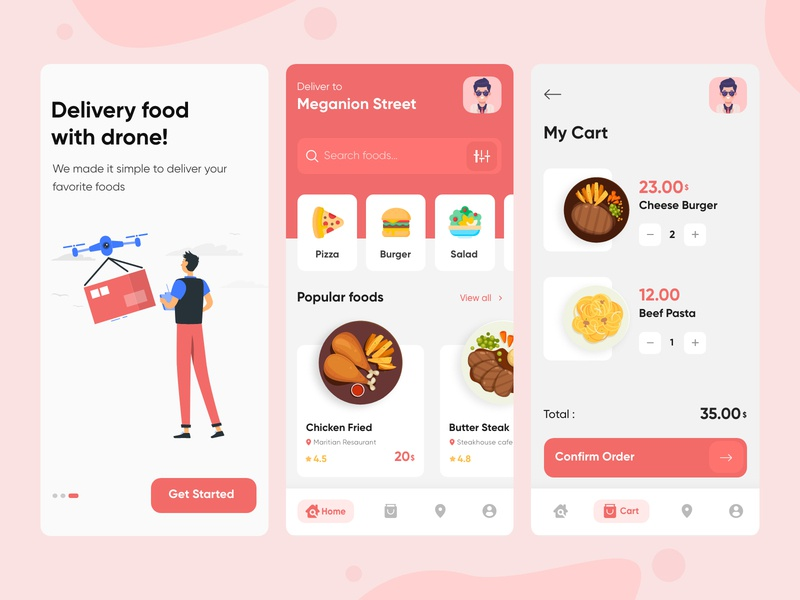 Food delivery app order food app design onboarding food order order food cart cart restaurant restaurant app food delivery app delivery app illustration food illustration food app app delivery food