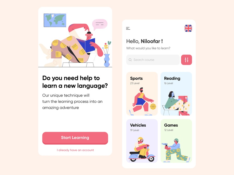 Language learning app vector ux design ui design light minimal clean course splash intro ios english pablo illustration app design app language learning learning app language