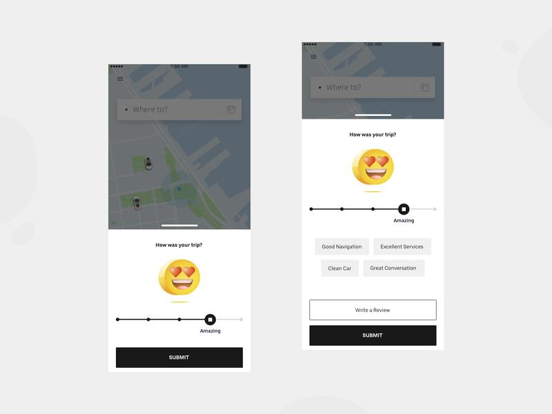 Uber feedback screen ride app ux ui accessibility illustration emoji review rate rating feedback uber design uber