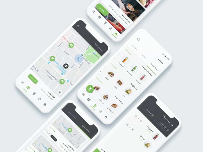 ‌Cluna app mobile app ui android app android material design flat  design ios shop shopping app menu delivery app shopping card order map food cluna ux design ui design app design app