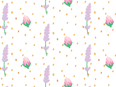 Rose Lavender Pattern rosebud lavender pattern gouache rose dots