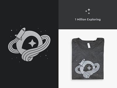 1 Million Exploring explore 1 million stars print illustration spaceship space tee t-shirt mapbox