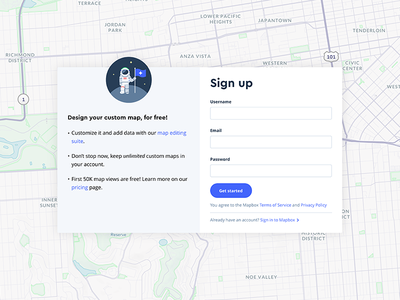 Sign up web form map maps mapbox sign up