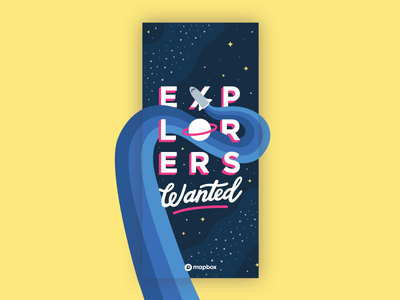 Explorers Wanted Billboard billboard mapbbox space lettering illustration explore explorers wanted