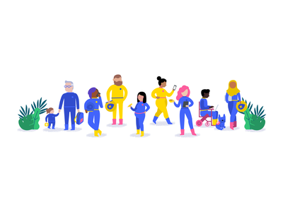 Illustrations for Mapbox's diversity and inclusion page french bulldog frenchie illustration mapbox astronauts inclusion diversity