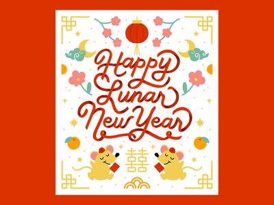 Happy Lunar New Year! ipad lettering procreate rat year of the rat red chinese new year lunar new year illustration hand lettering lettering
