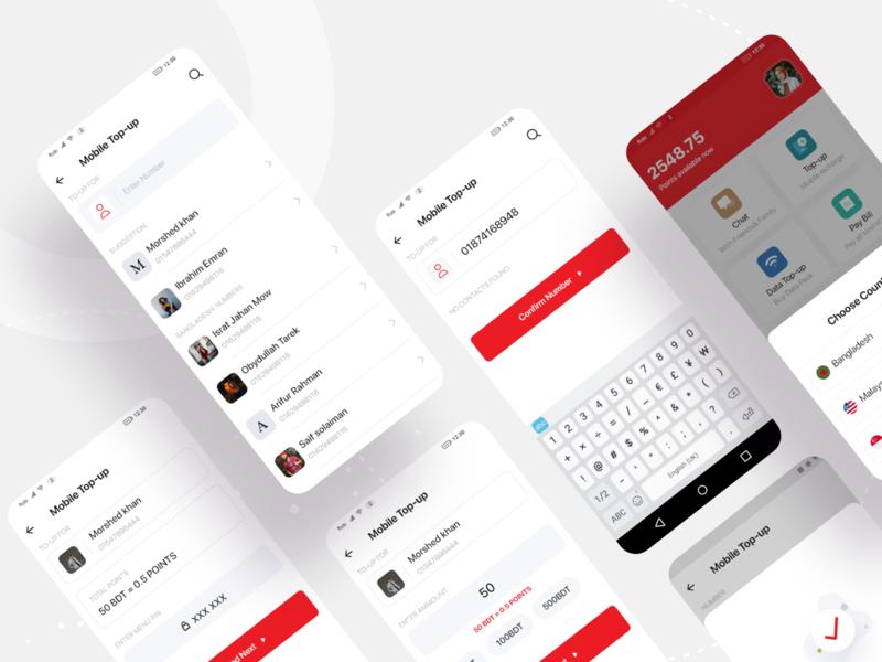 Sohoj App | Mobile Top up android app design chat app branding minimal app product user flow mock up material design communication internet data recharge mobile top-up design android app