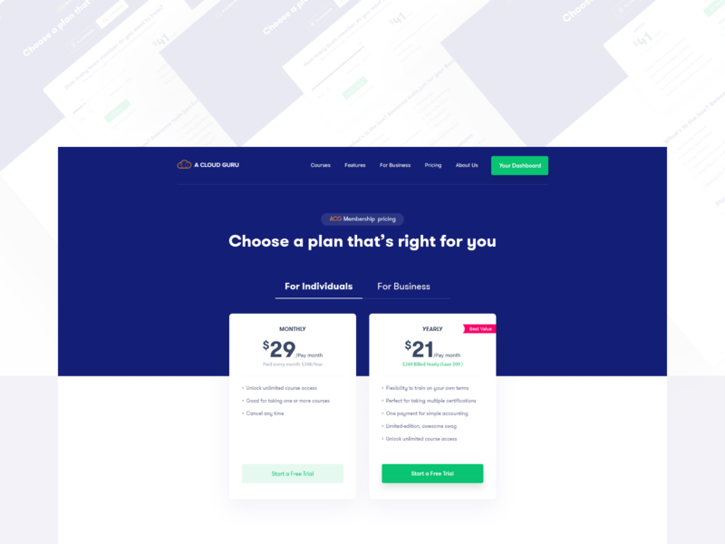 Choose a plan that's right for you | Pricing page design ui user experience page company individual business get started inner trail free new plan pricing