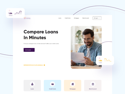 Compare Loans account bank card mortgage branding capital market money compare homepage web uidesign ux ui finance banking home credit bad loans