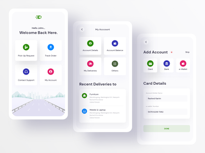 Delivery App designer boxes product food shipping company container shipping request order tracking app tracking receiver sender pickup send box design app courier delivery