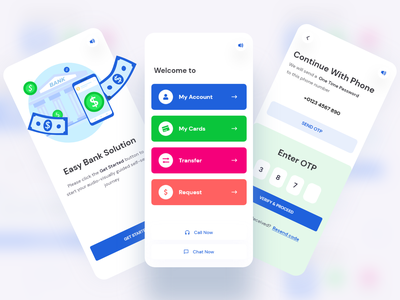 Mobile Banking App VIVR bank app banking app fintech personal finance online send money request transfer money transfer cards banking ivr vivr bank interface ui app design
