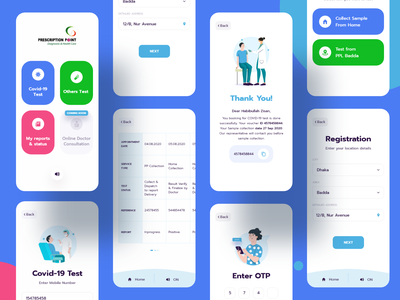 Online Medical During Covid-19 Situation design uidesign mobile report corona ivr vivr sample collection test covid-19 consultant online medical doctor appointment ux uiux ui app