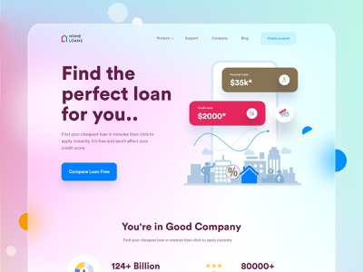 Home Loan landing page glassmorphism pay digital banking sme websites design ux ui card credit compare loan lender money bank account personal loan car loan home loan redesign website loan