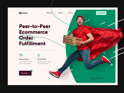 Courier Delivery Website Header Exploration company logistics 2021 trend delivery order tracking service request pickup sender product ux ui design landingpage website exploration header courier