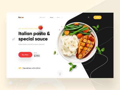 Food landing page Header Exploration design ux ui restaurant landingpage agency creative header website food delivery food