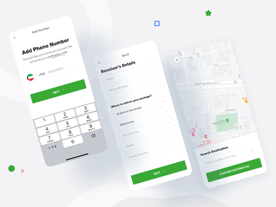 Shipment delivery app minimal ux ui app request pickup send box product company history tracking order delivery courier