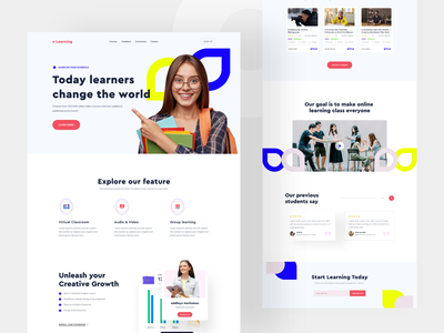 e-Learning Website elearning landing page course landing page online learning landing page educational online learning web ui clean course school tech learning online education homepage landing page website design colorful